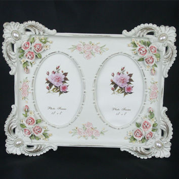 Retro Vintage Pearl Rose Flower Home Decor Photo Frame Picture Frame Resin Twin 5''*3.5''