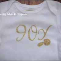 "Baby Christmas Onesuit in Gold ""Joy Joy""  Christmas T Shirt"