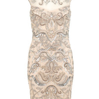 Nude Embellished Bodycon Dress - Sale & Offers