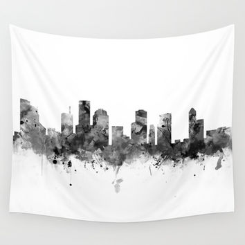 Houston Skyline Black and White Wall Tapestry by monnprint