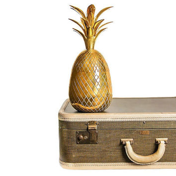 "Vintage Extra Large Brass Pineapple, 13 1/4"" Ice Bucket / Candlestick Holder, Hollywood Regency Style Home Decor"