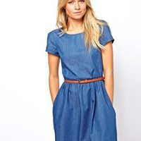Oasis Chambray Skater Dress at asos.com