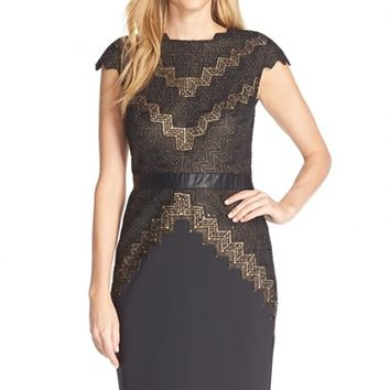 Women's Tadashi Shoji Sequin Lace Cap Sleeve Sheath Dress,