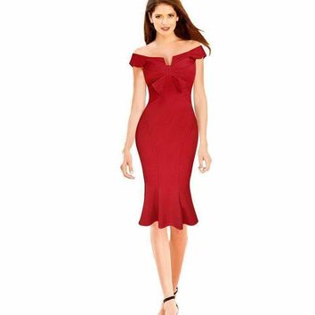 womens  dress   elegant celebrity bow front high waist gala mermaid cocktail party dress fish tail 201068