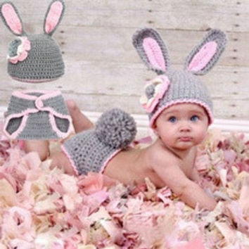 Grey Bunny Rabbit Handmade New newborn Baby infant Girl boy Costume Beanie photography photo Props Crochet Clothes shorts Sets knits caps hats (Size: 0-6m, Color: Gray & Pink) [8321371463]