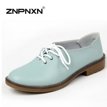 Genuine Leather Shoes Women Oxford Shoes For Women Shoes Fashion Flats Women Moccasins