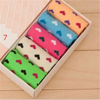 womens comfortable heart warm socks best gift 5 pcs socks 38 2