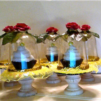 Belle's enchanted rose.... (set of 4) mini cupcake pedestal stand dome