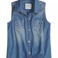 Sleeveless Embellished Denim Shirt | Tanks | Tops & Tanks | Shop Justice