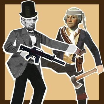 Lincoln vs. Washington Presidential brawl action paper dolls magnetic