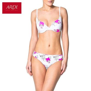 Woman's Bra and Briefs or String Set White Push Up Fashion Lingerie Printing