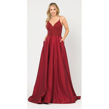 Lace-Up Back Burgundy Long Prom Dress with Pockets