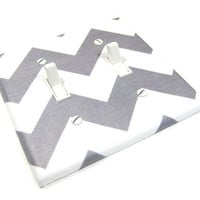 White and Gray Chevron RB Double Light Switch by ModernSwitch