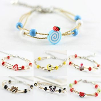 2018 Hot Sale 1Pc Cute Girl Bracelet Colorful Sisters Animal/Fruit Bangle Kawaii Jewelry 14 Styles Gift For Friend