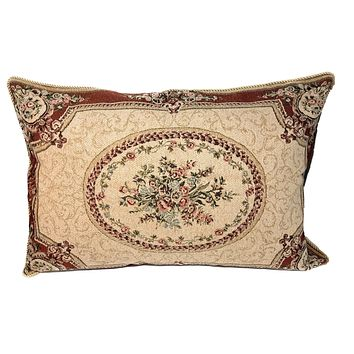 Tache 1-2 Chenille Woven Medallion Red Burgundy Garden Pillow Sham (DSC0014)