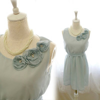 Chantilly Ash Dusty Pale Blue Rosettes Rose Adorn Chiffon French Bridesmaid Dress - handmade flower applique and sash