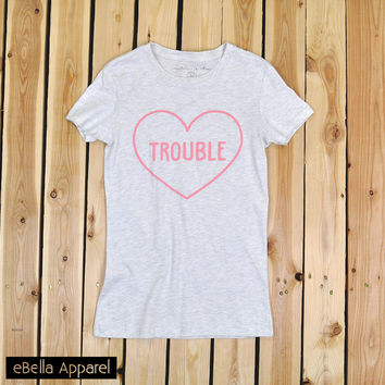 Trouble Heart - Women's Basic Oatmeal Short Sleeve, Graphic Print Tee