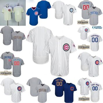 2017 Post Season Patch Custom Chicago Cubs Gold Program Mother's Father's Day Customized Jerseys Personalized Baseball Jerseys