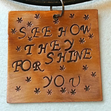 Lyrics Necklace, Coldplay Jewelry, See How They Shine For You, Look at the Stars, Coldplay Key-Chain, Gifts for Music Fans