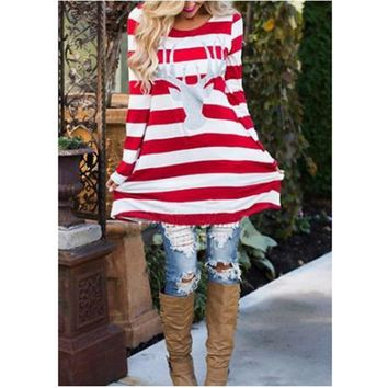 Long Sleeve Red Whites Striped Printed Deer Christmas T Shirt