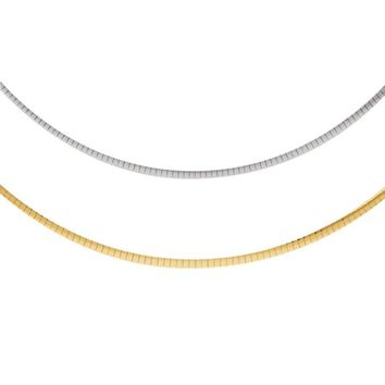 4mm Sterling Silver & 14k Yellow Gold Reversible Omega Chain Necklace