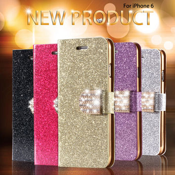 For Iphone 6 Case Gold Luxury Bling Diamond Leather Case For Iphone 6 4.7inch Flip Cover Card Slot Stand Book Retro Vintage