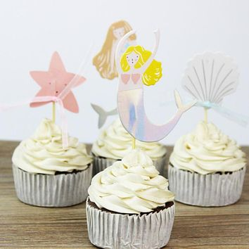 Under the Sea Mermaid Cupcake Toppers - 24 Piece Set