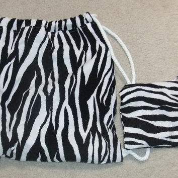 Backpack, Drawstring Backpack with extra removable zipper Pouch - Zebra Print - Lined - School Bag