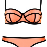 Pandolah Push up Bright Diving Suit Material-neoprene Bikini Set Swimwear (US Size 8-10 (XL), Orange-7)