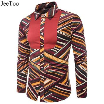 JeeToo Mens Casual Shirts Striped Polka Dot Casual Men Shirts Long Sleeve Slim Fit Cotton Corduroy Male Shirt Imported Shirt