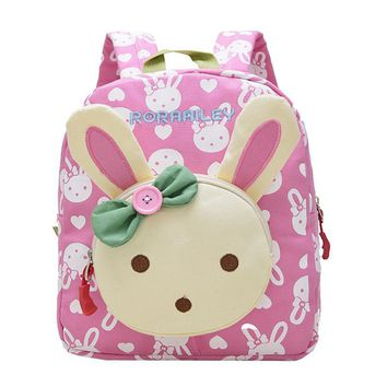 Lovely Cute Kids School Bags Rabbit Bear Dolls  Canvas Backpack Mini Baby Toddler Book Bag Kindergarten Rucksacks