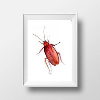 cockroach watercolor painting insect boy kid nursery decor print wall art fun men gift brown artwork  5x7 8x10 11x14 16x20 24x36 art