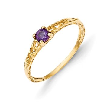 Size 3 14kt Yellow Gold 3mm Genuine Amethyst Birthstone Girls Ring