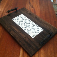 Reclaimed Dark Stained Pallet Wood Edge Grain Flat Serving Tray With Inlayed Mosaic Glass Tiles and Metal Handles