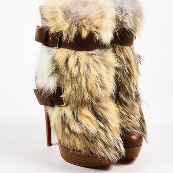 DCCK2 Christian Louboutin Brown Leather Fur Toundra Booty 140 Boots