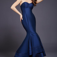 Navy Sweetheart Neck Mermaid Dress 37897
