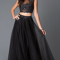 Long Black Two Piece Beaded Illusion Bodice Prom Dress