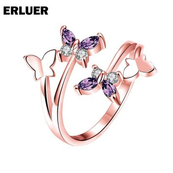 ERLUER Fashion Resizable Ring For Women Crystal CZ Zircon Butterfly Charm Wedding Bridal Party Rose Gold Color Silver Rings Anel