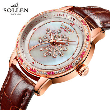 kobiet zegarka Fashion colors clock Brand relogio Luxury Mechanical Women waterproof watches women Dress Rhinestone wristwatch