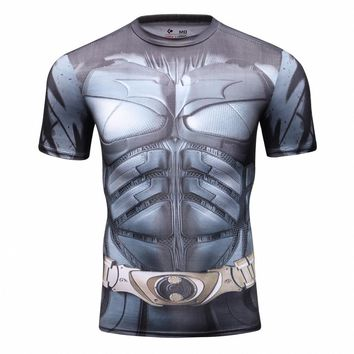 Two Colors Marvel Batman Compression Shirt Fitness Tights Cross Fit Sports Clothing Short Sleeve T Shirt Summer Muscle Men Tees