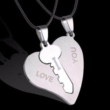 I Love You Couple Necklaces 1 Pair Lock Key Matching Heart Stainless Steel Pendant Necklace for Couples New Arrival
