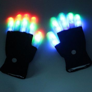 NEW 1 pair Flashing Fingertip Light 7 Mode LED Gloves Mittens Costumes Rave Party Skating Riding Party Accessory