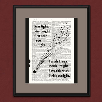 Star Light Star Bright Vintage Dictionary Art Print Upcycled Home Decor Shooting Star Wish Stars Nursery Rhyme Newborn Baby Shower Gift
