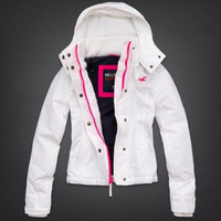 $90 Hollister White Hooded All Weather Jacket M NWOT
