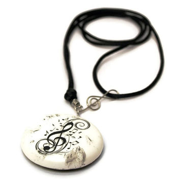 Treble Clefs Black White Medal Necklace,Stainless Steel and Polymer Clay Musical notes Jewelry