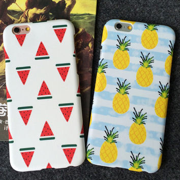 Fashion Pineapple Watermelon Mobile Phone Case For Iphone 5 5s SE 6 6s 6plus 6s plus + Nice gift box!