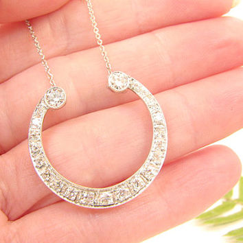 Antique Diamond Pendant Necklace in Platinum, Gorgeous Old European Cut Diamonds, approx 1.18 cts, Stylized Horseshoe Shape, Edwardian Era
