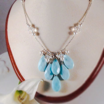 Blue statement necklace Turquoise bib necklace Big bold jewelry White pearl bib necklace Briolette necklace Mother of the bride Gift for her