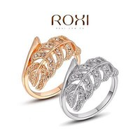 Roxi Women 18K Rose Gold Plated Zircon Rhinestone Leaf Wide Band Ring Gift X9N7