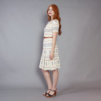 70s GREEK Novelty Print PEASANT DRESS / 1970s Grecian Ivory Crinkled Cotton Bohemian Dress